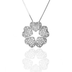 925 Sterling Silver FIVE-Heart Star Pendant with Cubic Zirconia and Necklace