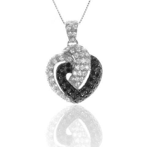 Pave Set HEART Pendant Necklace with Black and White CZ