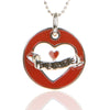 925 Sterling Silver Red Enamel PEACE HEART Pendant with Necklace