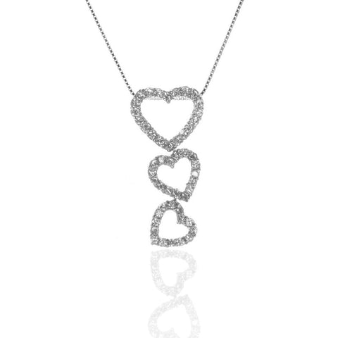 925 Sterling Silver Triple HEART Pendant Necklace with CZ