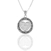 925 Sterling Silver HEART Circle Pendant with Black and White CZ