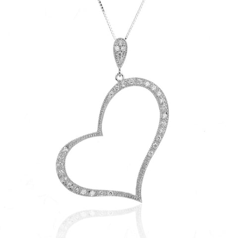925 Sterling Silver Large Open Heart Pendant Necklace with CZ