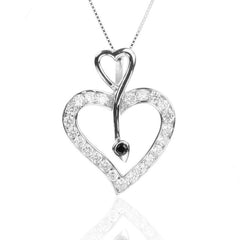 925 Sterling silver Open HEART Pendant Necklace with CZ
