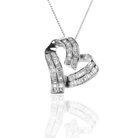 925 Sterling Silver Open HEART Necklace with Cubic Zirconia