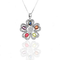 Multi semi-precious Gemstones Sterling Silver Five-HEARTS Floral Pendant Necklace