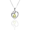 Sterling Silver Open Heart Pendant Necklace with Peridot