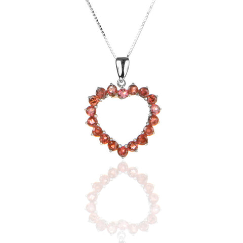 Sterling Silver Open Heart Pendant Necklace with Garnet