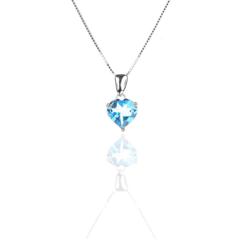 Sterling Silver Open Heart Pendant Necklace with Blue Topaz