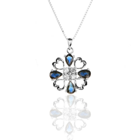 Sterling Silver Four-HEART Pendant Necklace with Sapphire