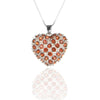 Sterling Silver HEART Pendant Necklace with Garnet