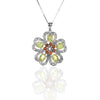 Sterling Silver Bloom of Hearts Floral Pendant Necklace with Peridot and Garnet