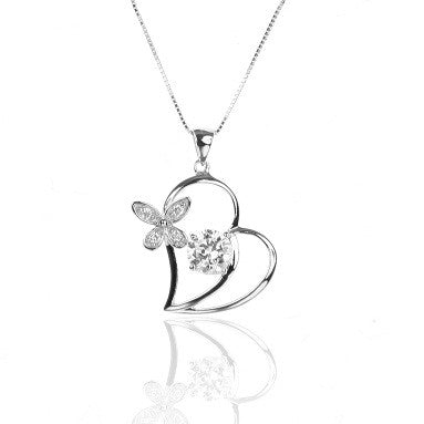 Sterling Silver Floral Open HEART Pendant Necklace with CZ