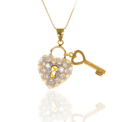 Gold Tone Key & Lock HEART Pendant with Cubic Zirconia