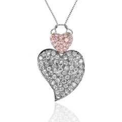 Pink and White CZ Sterling Silver HEART Pendant
