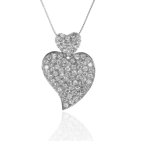 Pave Set Double Heart Sterling Silver HEART Pendant with Cubic Zirconia