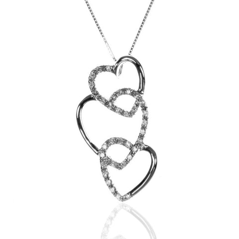 Triple Open HEART Pendant Necklace with CZ