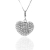 CZ Puffy Pave Set HEART Charm Pendant Necklace