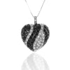 Black & White CZ Pave Set HEART Pendant Necklace