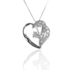 White Cubic Zirconia HEART Pendant Necklace