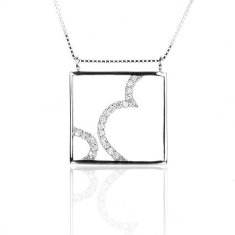 Square Sterling Silver Pendant Necklace with CZ
