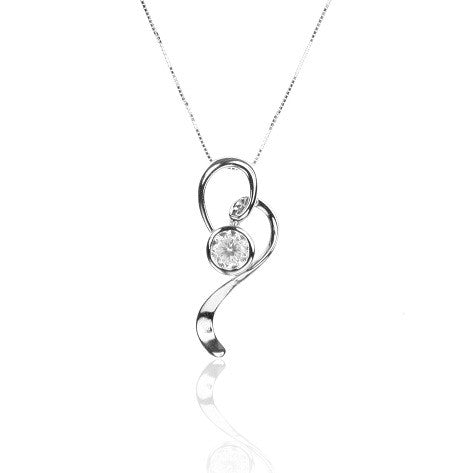 Sterling Silver Open HEART Pendant with Cubic Zirconia