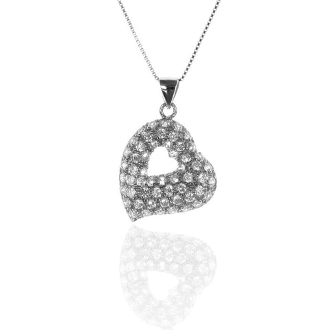 HEART Pave Set Sterling Silver Pendant with CZ