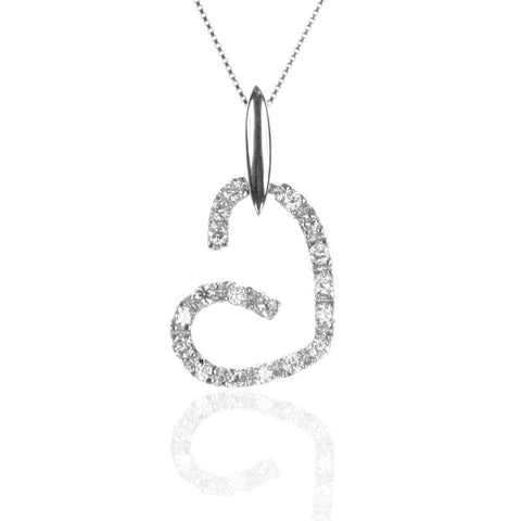 Sterling Silver Open HEART Pendant with CZ