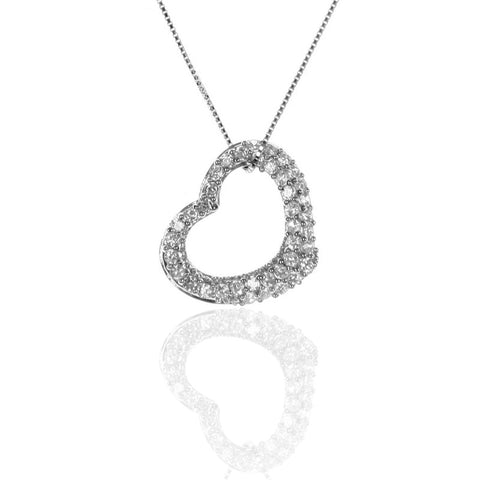 925 Sterling Silver Pave Set Floating Open Heart Pendant with Necklace