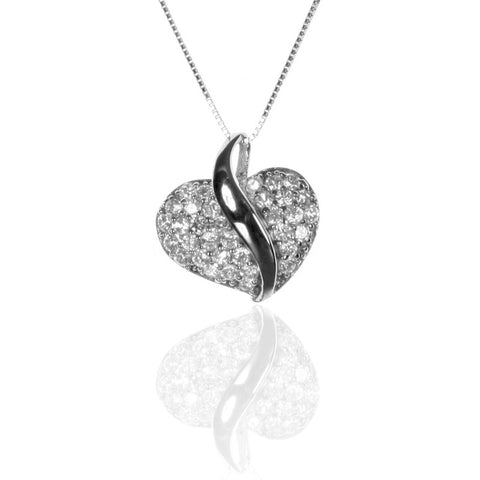 Pave Set Sterling Silver HEART Pendant with CZ