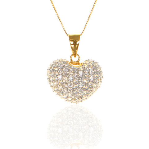 Pave Set Gold Plated Sterling Silver HEART Pendant with CZ