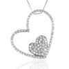 Sterling Silver HEART to HEART Pave Set Pendant with CZ