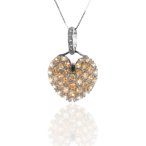 Pave Set Sterling Silver HEART Pendant with Champagne Zircon