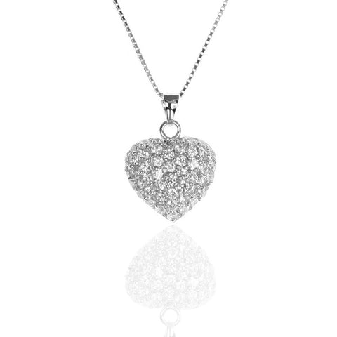 Puffed Pave Set Sterling Silver HEART Pendant with CZ