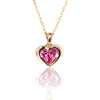 Gold tone pink Swarovski Crystal HEART Necklace