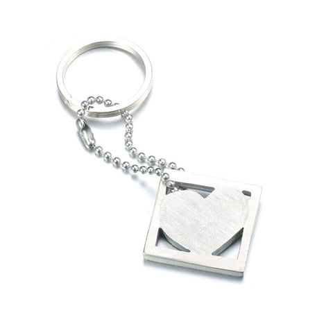Pewter HEART in square Keychain