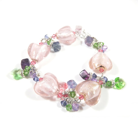 Adjustable Pink Color Glazed Glass Heart Bracelet