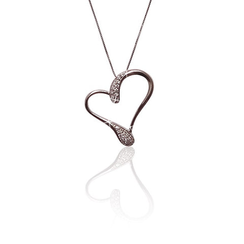 925 Sterling Silver Open Heart Pendant Necklace with Cubic Zirconia