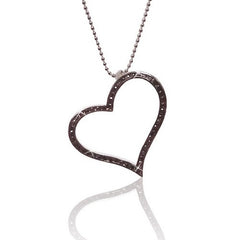 925 Sterling SilverOpen Heart Pendant Necklace with Black Cubic Zirconia Stone