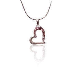 Pink Swarovski Open Heart Pendant with Necklace