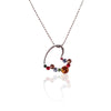 Stainless Steel Open Heart Pendant with Multi-color Crystal