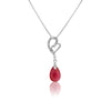 HEART Sterling Silver Pendant with Cubic Zirconia and Pink Zircon Drop