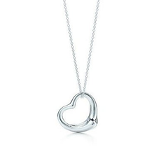 925 Sterling Silver Floating Open Heart Pendant with Necklace