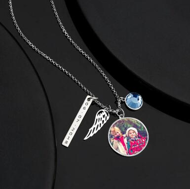 Engraved Round Tag Photo Silver Necklace