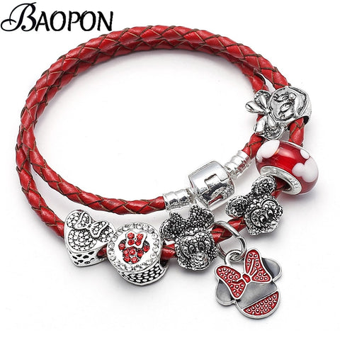 Leather Charm Mickey Minie Beads Bracelet