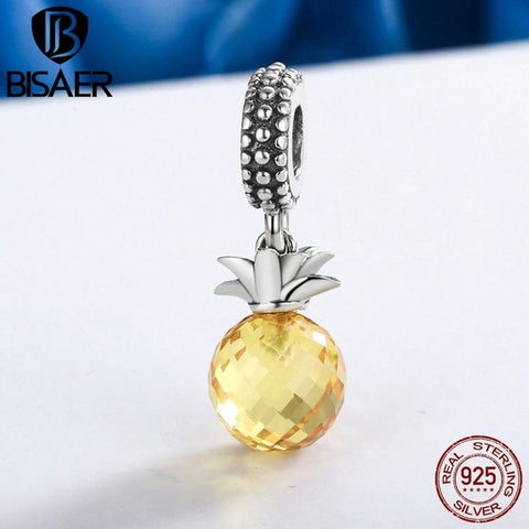 925 Sterling Silver Pineapple Fruit Fit Charm Bracelet