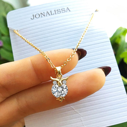 Zircon Pendants Owl Necklace For Women Crystal Heart