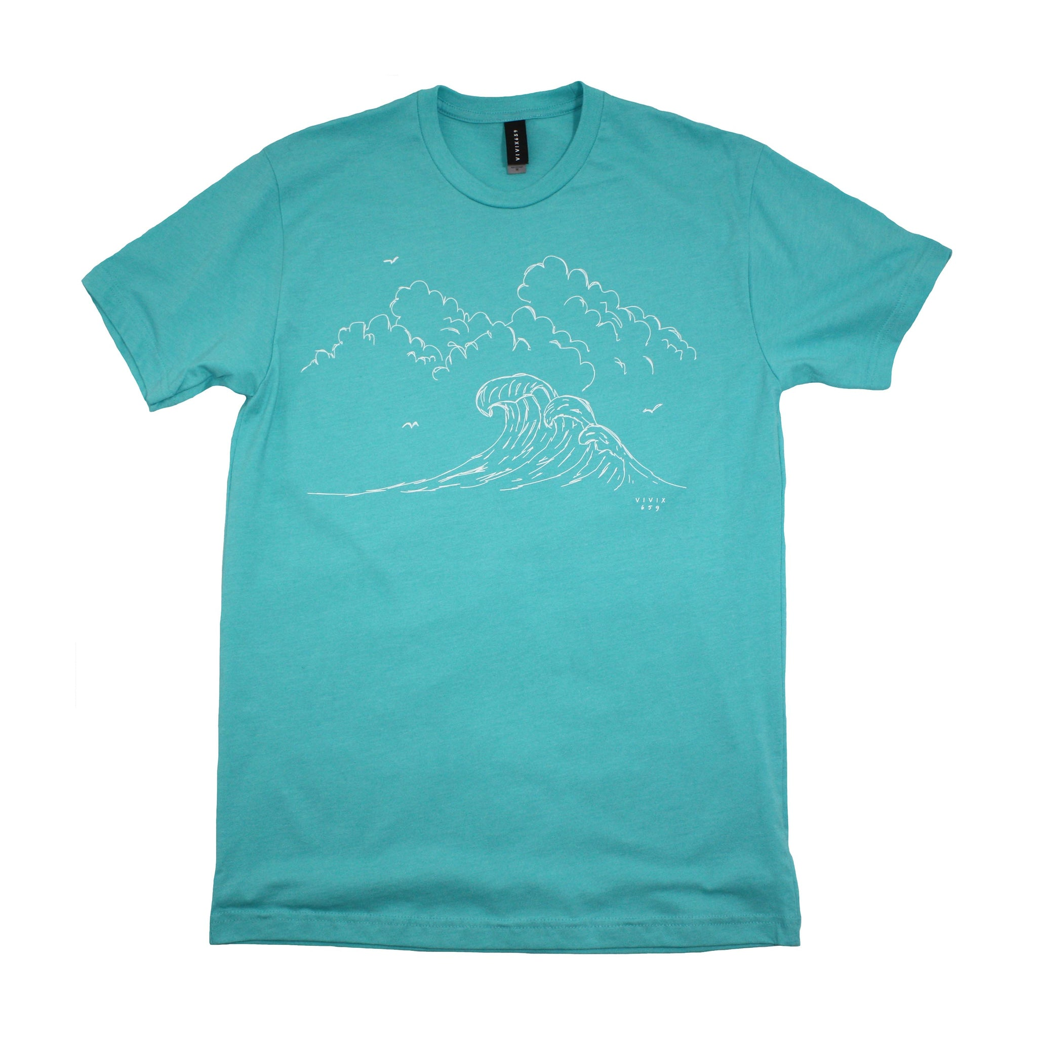 Hand drawn crashing waves t shirt