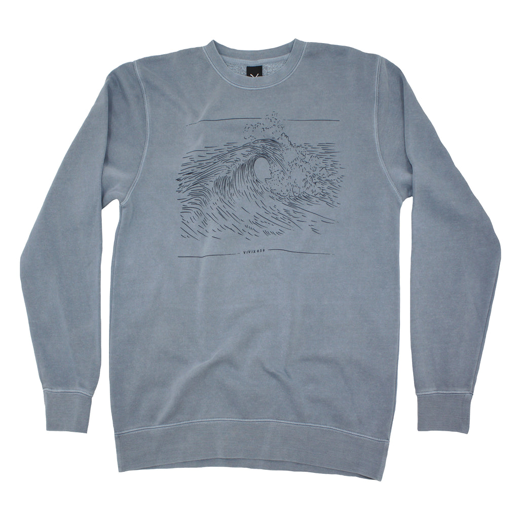 Mens waves pigment dyed sweatshirt
