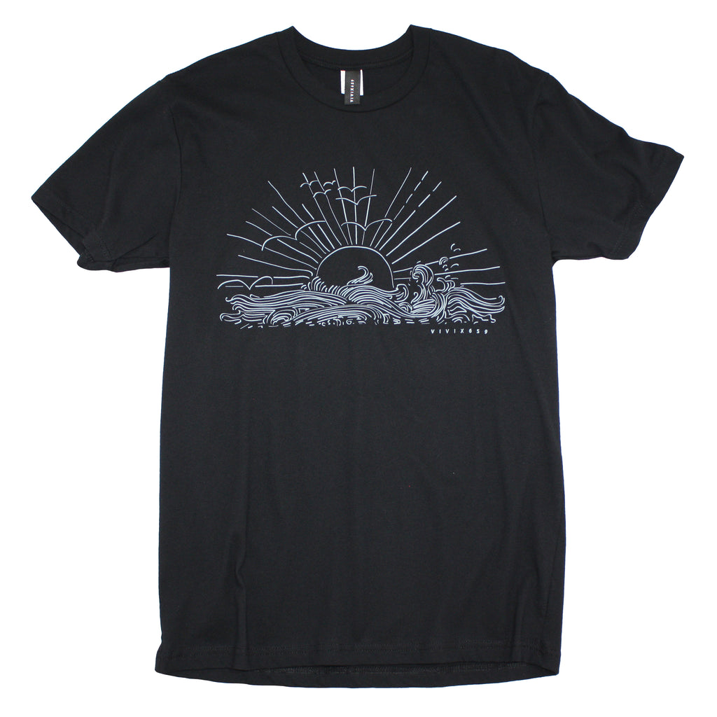 Waves and sun mens t shirt