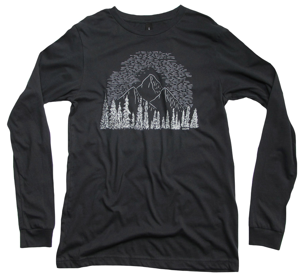 Men's hand drawn wilderness long sleeve shirt
